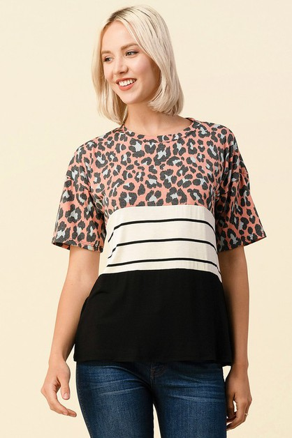 LEOPARD PRINT COLOR BLOCK TOP - orangeshine.com