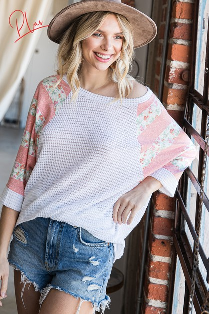 Solid Top With Floral Print Contrast - orangeshine.com