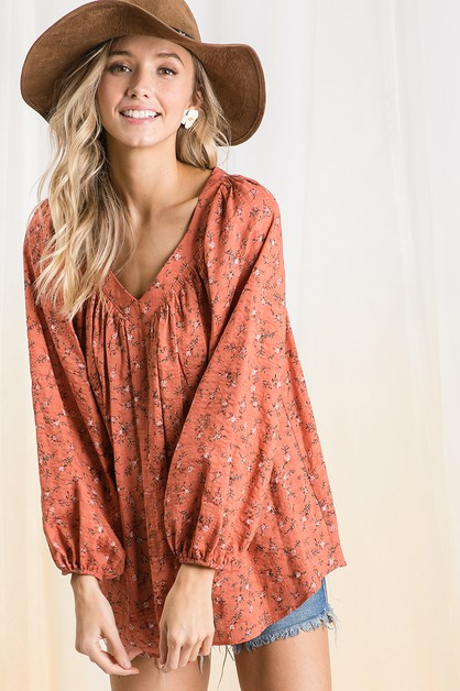 Floral print pleating Top - orangeshine.com