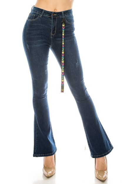 Dark Flare Jeans with Lanyard - orangeshine.com