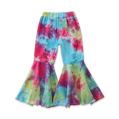 Girls tie dye bell bottom jeans - orangeshine.com