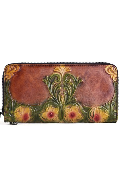 Floral Real Leather Wristlet HB1074 - orangeshine.com