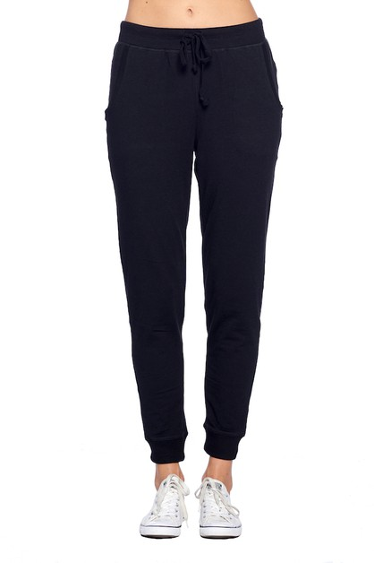 Solid Jogger Pants with Waist Tie - orangeshine.com