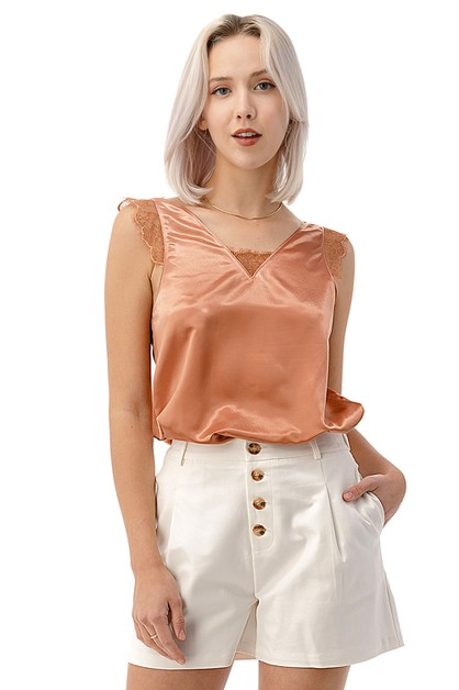 Shinny V-Back Lace Trimmed Top - orangeshine.com