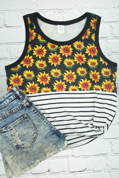 Sunflowers and Stripes Tank Top - orangeshine.com