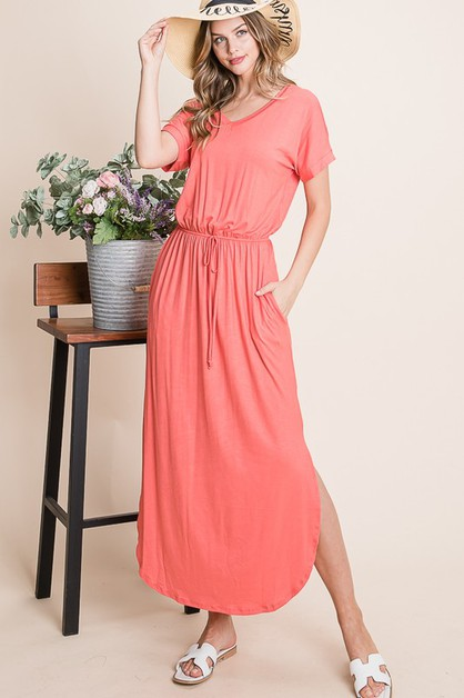 SOLID V NECK MIDI DRESS - orangeshine.com