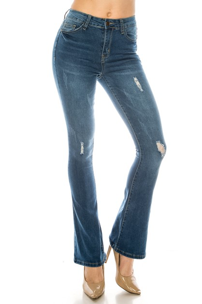 Distressed Flare Jeans - orangeshine.com