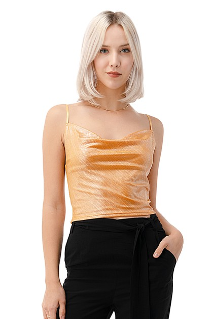 Shinny Metallic Tank Top - orangeshine.com