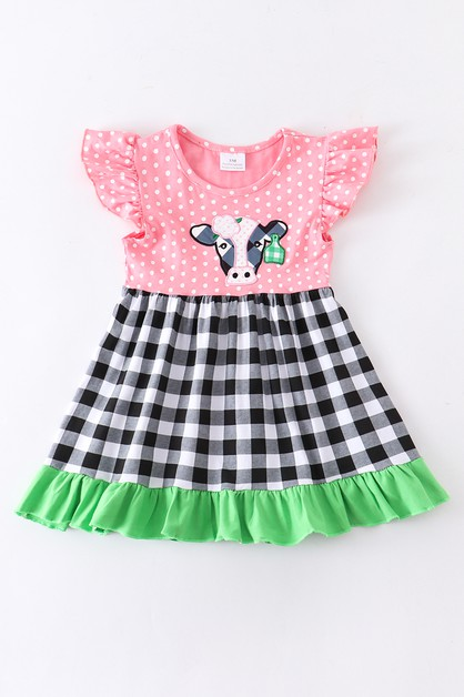 Pink cow applique ruffle dress - orangeshine.com