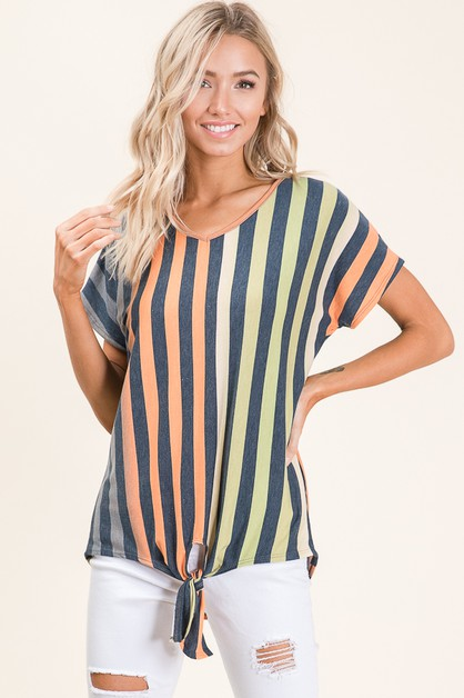 STRIPE TOP FEATURING SELF TIE KNOT - orangeshine.com