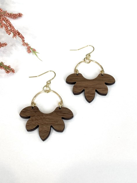 Botanical Arched Wired Wood Earrings - orangeshine.com