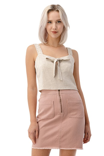 Bow Tie Ruched Crop Top - orangeshine.com