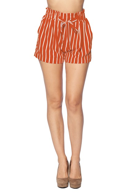 Self Tie Ruffle Waist Shorts - orangeshine.com