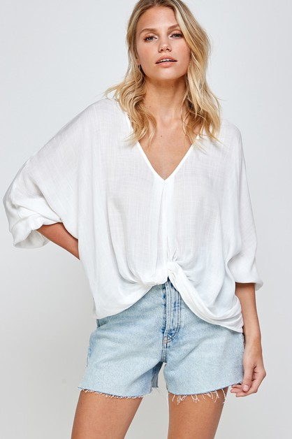 SOLID TWIST FRONT BLOUSE TOP - orangeshine.com