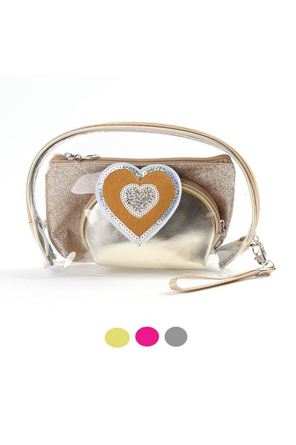 Ladies Heart Makeup Bag 3pc Set - orangeshine.com