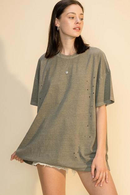 DISTRESSED OVERSIZED T SHIRT - orangeshine.com