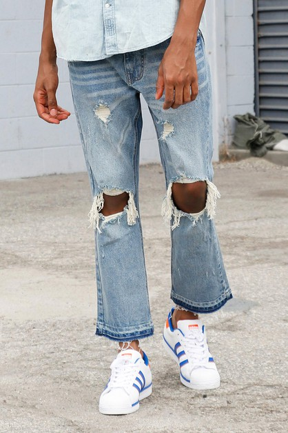 RELAXED RIPPED JEANS - orangeshine.com