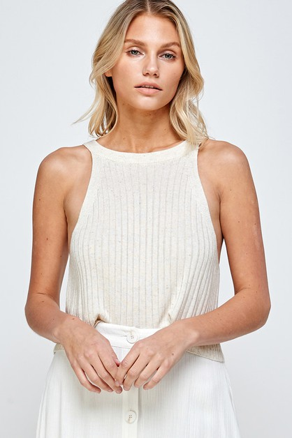 SOFT RIB KNIT HALTER NECK TOP - orangeshine.com