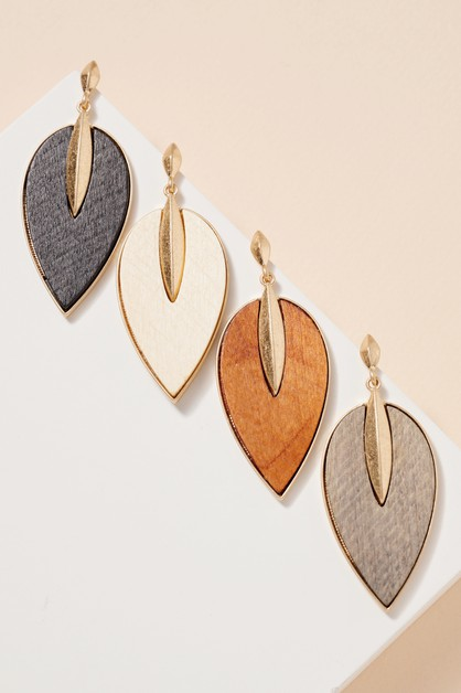 Wooden Leaf Shaped Dangling Earrings - orangeshine.com