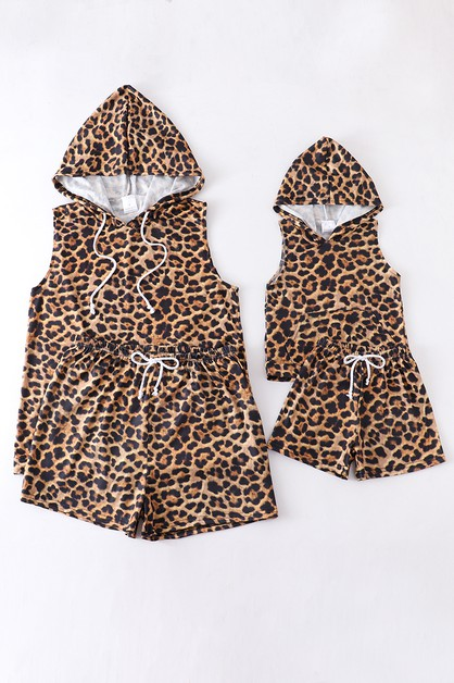 Leopard hoodie lounge set mommy me - orangeshine.com