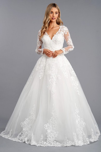 Long Sleeeve Bridal Dress - orangeshine.com