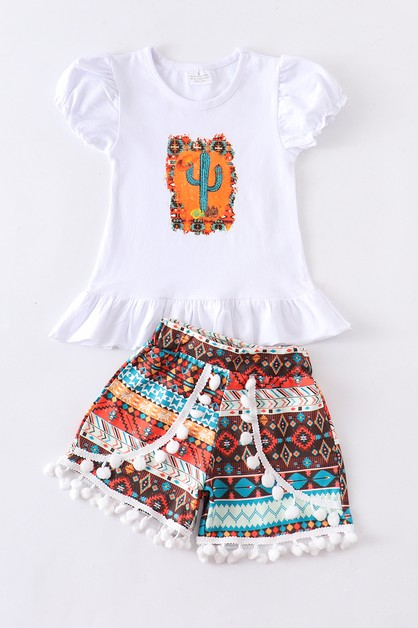 Cactus pom pom 2 pcs shorts set - orangeshine.com