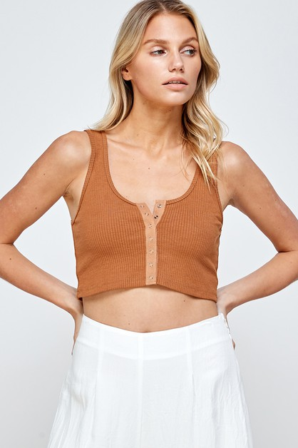 SNAP RIBBED CROPPED TANK TOP - orangeshine.com