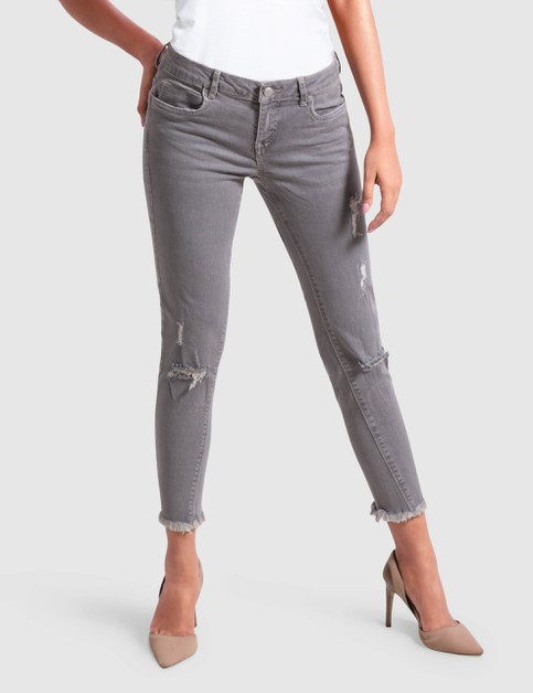 Womens Stretch Grey Denim Pant - orangeshine.com