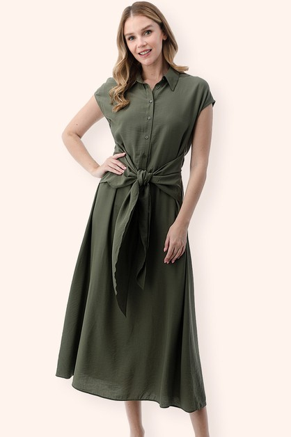 Flowy Tie-Front Shirt Dress - orangeshine.com