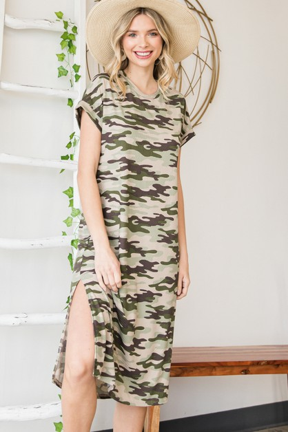 Ribbed Camo Knit Dress - orangeshine.com