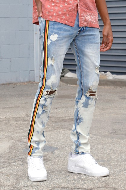 SIDE TAPED JEANS W BLEACH - orangeshine.com