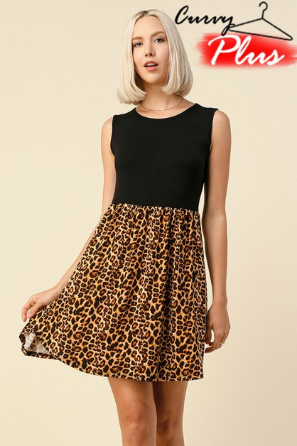 SOLID AND LEOPARD PRINT SLEEVELESS DRESS - orangeshine.com