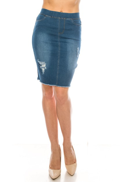 Pull on denim skirt - orangeshine.com