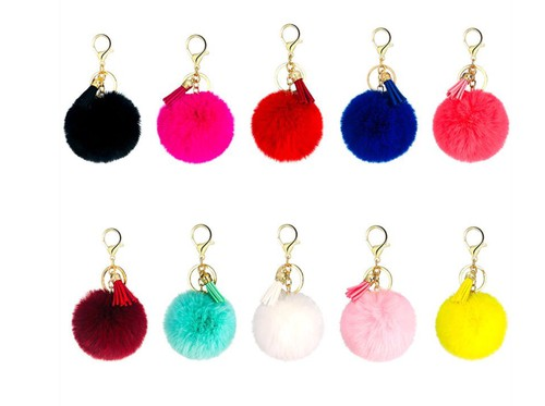 Tassel faux fur keychain 5pc - orangeshine.com