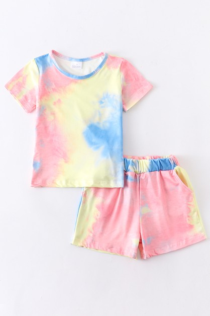 Tie dye lounge shorts set mommy me - orangeshine.com