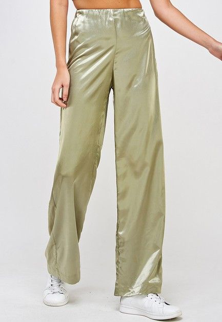 WIDE LEG SATIN PANTS - orangeshine.com