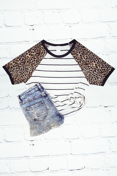 Short Sleeve Striped Leopard T-Shirt - orangeshine.com