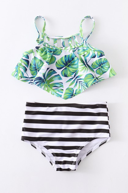 Palm leaf stripe 2 pcs swim bathing - orangeshine.com