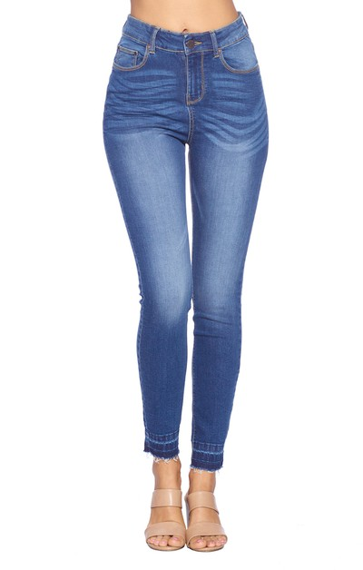 High Rise SOLID ANKLE Skinny Jeans - orangeshine.com