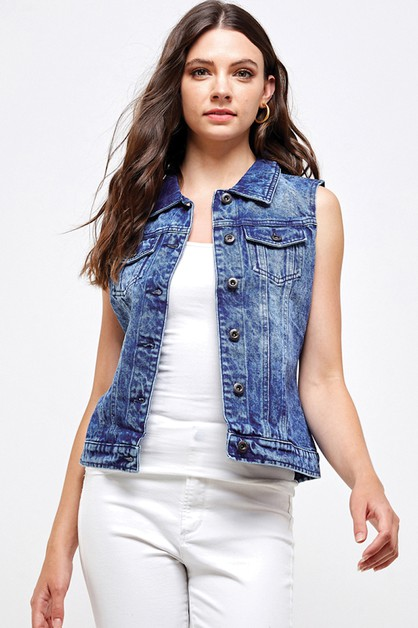 DENIM VEST - WOMEN DENIM TOP - orangeshine.com