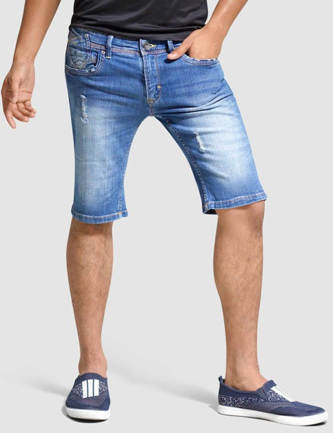 Mens Stretch Denim Shorts Slim Fit - orangeshine.com