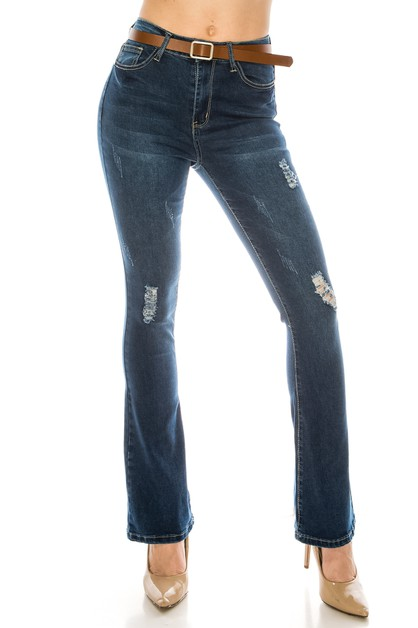 Dark Flare Jeans with Belt - orangeshine.com