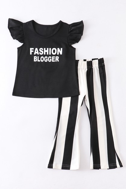 Fashion blogger stripe pants set - orangeshine.com