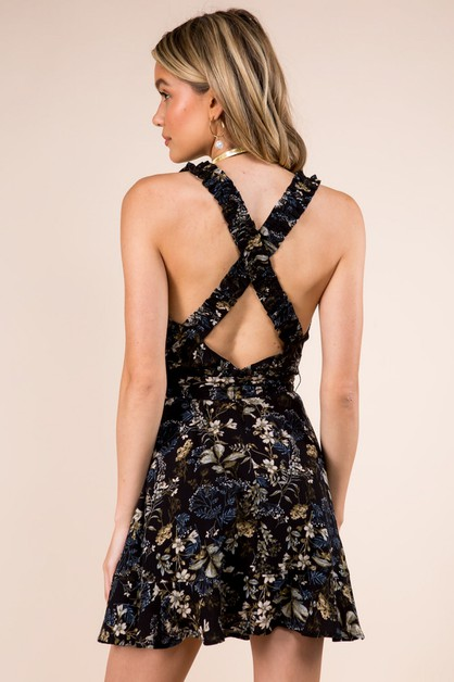 Scrunchie Back Detail Floral Dress - orangeshine.com