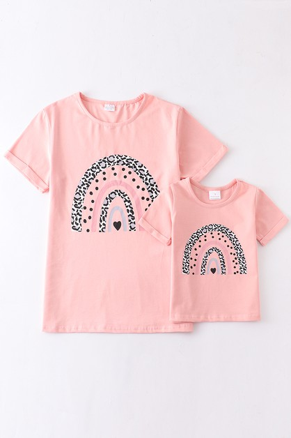 Pink rainbow mommy and me shirt - orangeshine.com