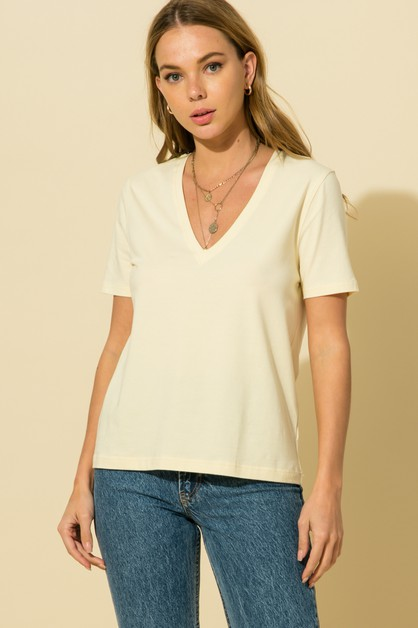 V NECK T-SHIRT TOP - orangeshine.com