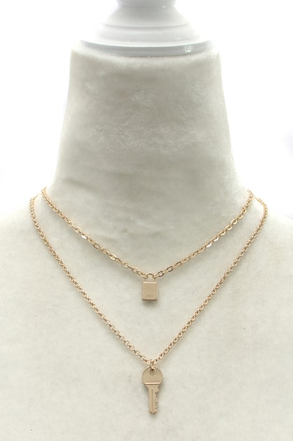 LAYERED  CHAIN WITHLOCK KEY NECKLACE - orangeshine.com
