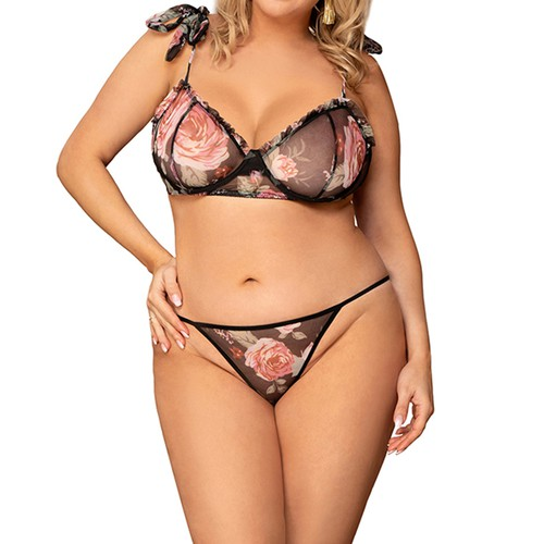 Rose Mesh Bra and Panty Set I S-5X - orangeshine.com