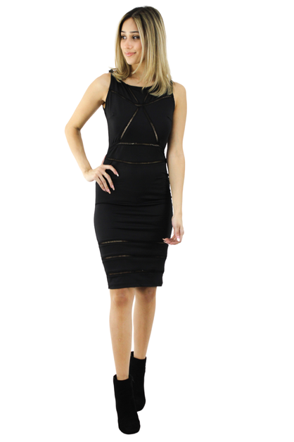 Geometric Sleeveless Bodycon Midi Dress - orangeshine.com