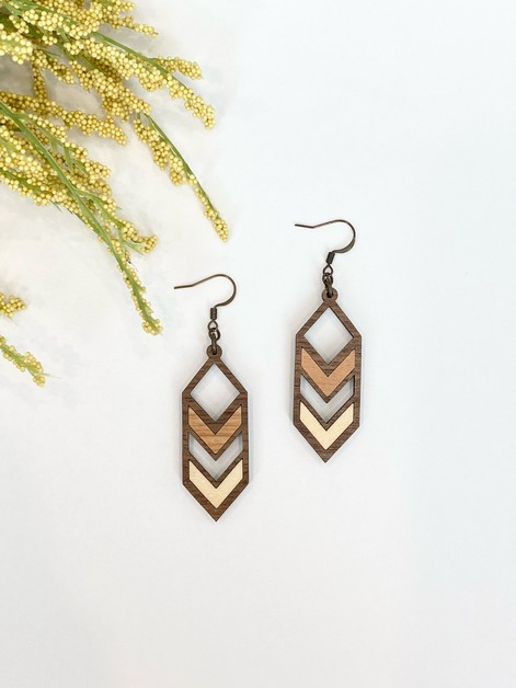 Wood Arrowe Multi Colored Earrings - orangeshine.com